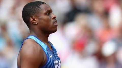 LONDON, ENGLAND - AUGUST 12:  Christian Coleman of the United States prepares to compete in the Men's 4x100 Metres Relay heats during day nine of the 16th IAAF World Athletics Championships London 2017 at The London Stadium on August 12, 2017 in London, United Kingdom.  (Photo by Patrick Smith/Getty Images)