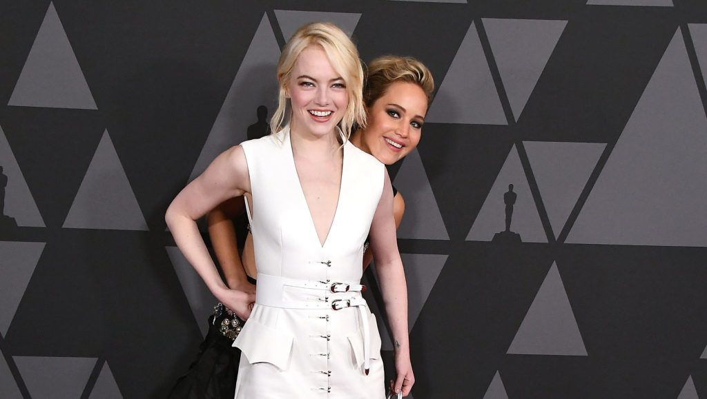 HOLLYWOOD, CA - NOVEMBER 11:  Jennifer Lawrence;Emma Stone arrives at the Academy Of Motion Picture Arts And Sciences' 9th Annual Governors Awards at The Ray Dolby Ballroom at Hollywood & Highland Center on November 11, 2017 in Hollywood, California.  (Photo by Steve Granitz/WireImage)