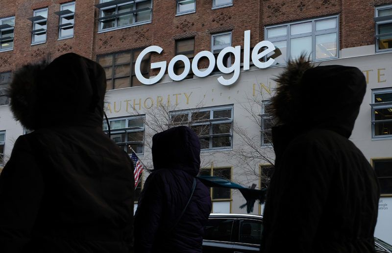 NEW YORK, NY - DECEMBER 30:  People walk past a Google office building on 9th Avenue in Chelsea district on December 30, 2017 in New York City. The building, known officially by its addrees of 111 8th Avenue, is among the city's biggest office buildings and is wholly owned by Google.  (Photo by Sean Gallup/Getty Images)