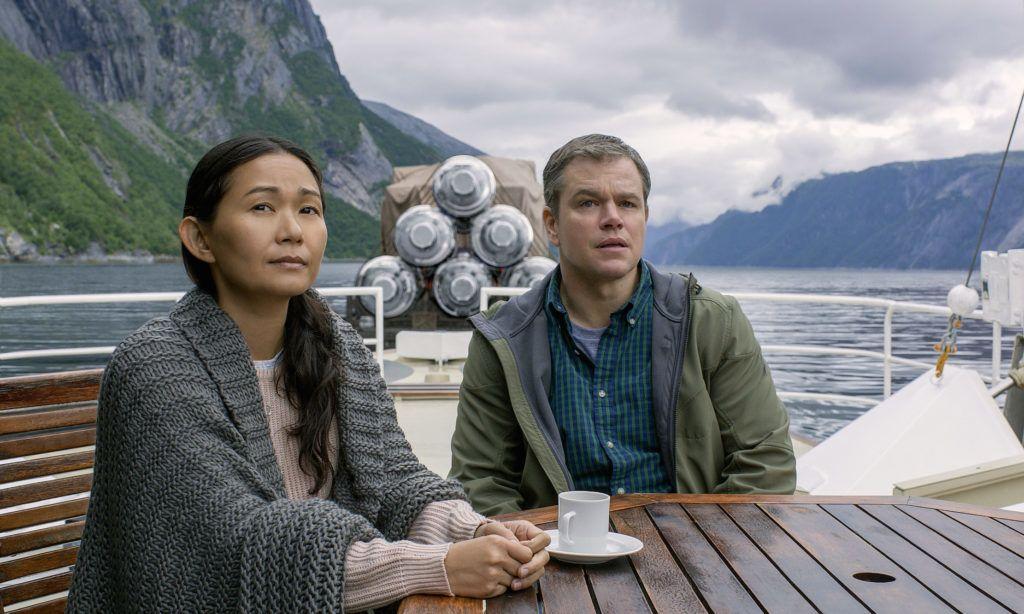 Hong Chau plays Ngoc Lan Tran and Matt Damon plays Paul Safranek in Downsizing from Paramount Pictures.