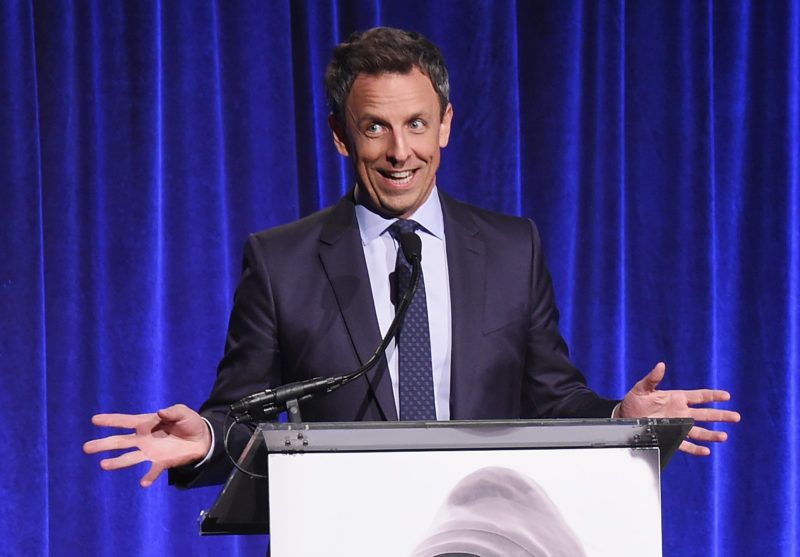 NEW YORK, NY - NOVEMBER 13:  Seth Meyers speaks onstage during the Worldwide Orphans 13th Annual Gala on November 13, 2017 at Cipriani Wall Street in New York City.  (Photo by Michael Loccisano/Getty Images for Worldwide Orphans)