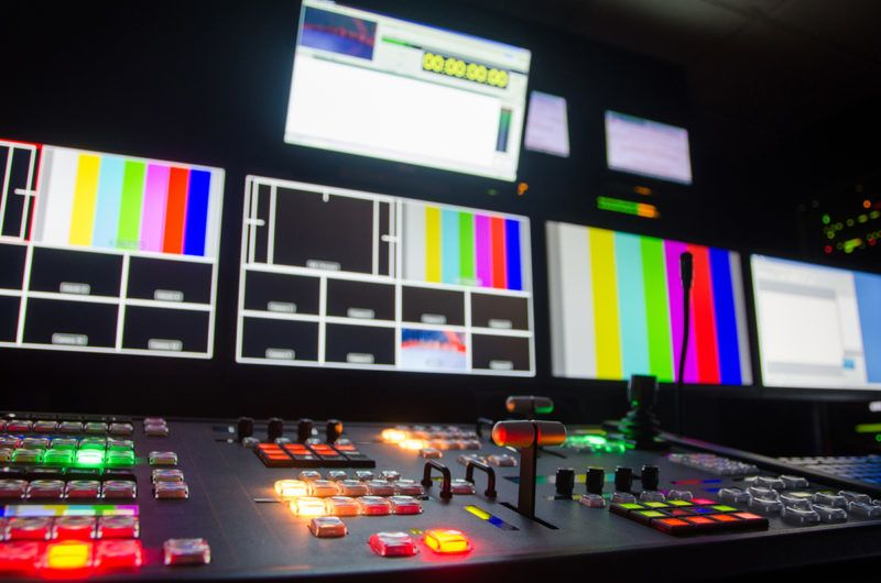 Broadcast television switcher in progress.
