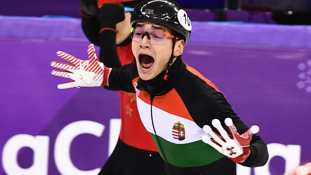 Hungary's Sandor Liu Shaolin reacts in the men's 5,000m relay short track speed skating A final event during the Pyeongchang 2018 Winter Olympic Games, at the Gangneung Ice Arena in Gangneung on February 22, 2018. / AFP PHOTO / ARIS MESSINIS