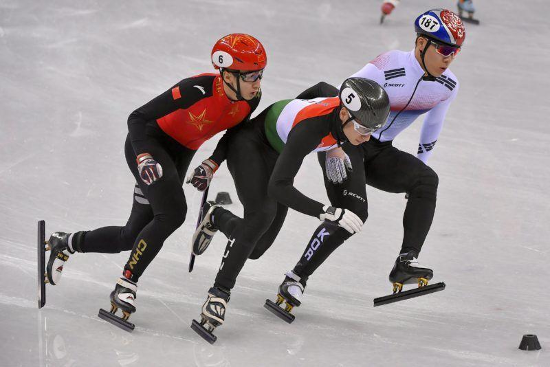Kangnung, 2018. február 22. Liu Shaoang (k), a gyõztes magyar csapat tagja a férfi rövidpályás gyorskorcsolyázók 5000 méteres váltóversenyében, a phjongcshangi téli olimpián a Kangnung Jégcsarnokban 2018. február 22-én. MTI Fotó: Czeglédi Zsolt
