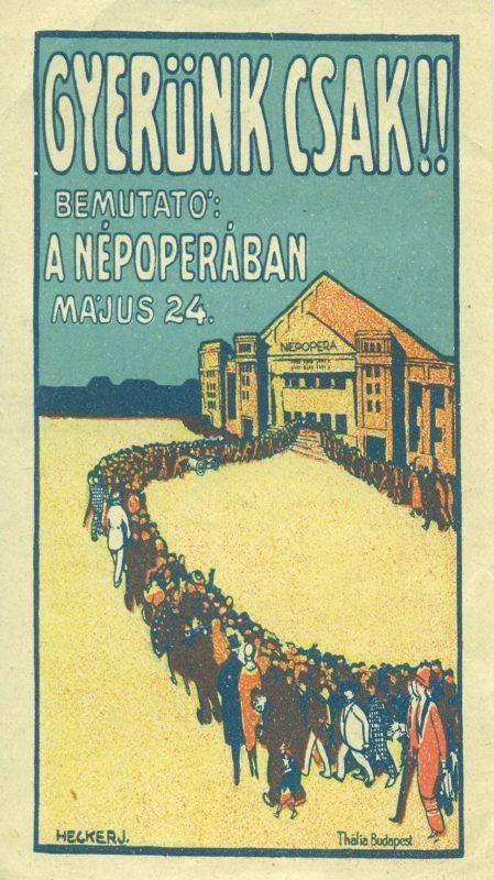 NÉPOPERA színes reklám számolócédulája, kígyózó sor ábrázolásával a NÉPOPERA épülete előtt.
