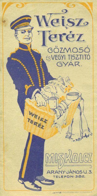 Weisz Teréz GŐZMOSÓ ÉS VEGYTISZTÍTÓ GYÁR ( Miskolcz) színes reklám számolócédulája, szennyes ruhákat vivő, egyenruhás férfi ábrázolásával, cím és telefonszám feltüntetésével, keretbe foglalva.