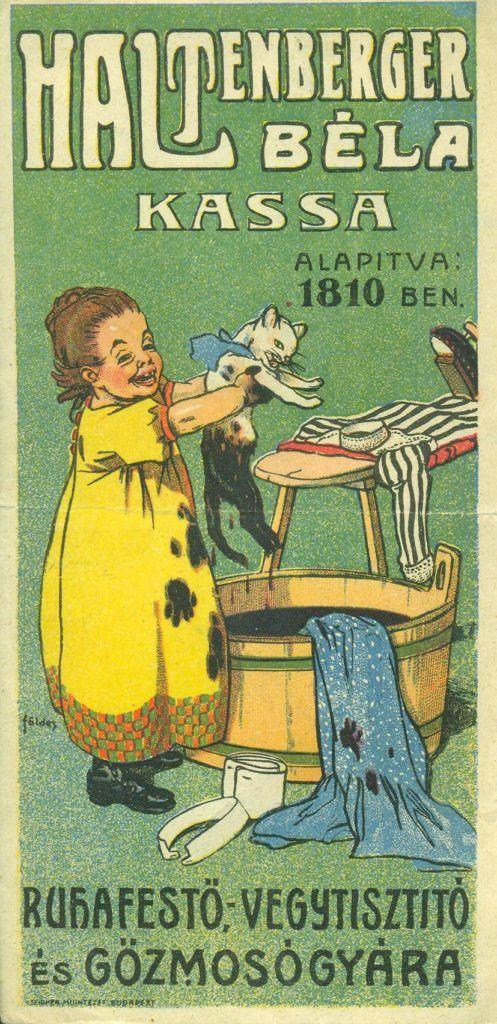 HALTENBERGER BÉLA kassai RUHAFESTŐ-VEGYTISZTÍTÓ színes reklám számolócédulája, egy kislány ábrázolásával aki ruhákat és egy macskát fest be egy dézsában, mellette vasalódeszka, vasalóval és inggel, az alapítás évével ( 1810 ).