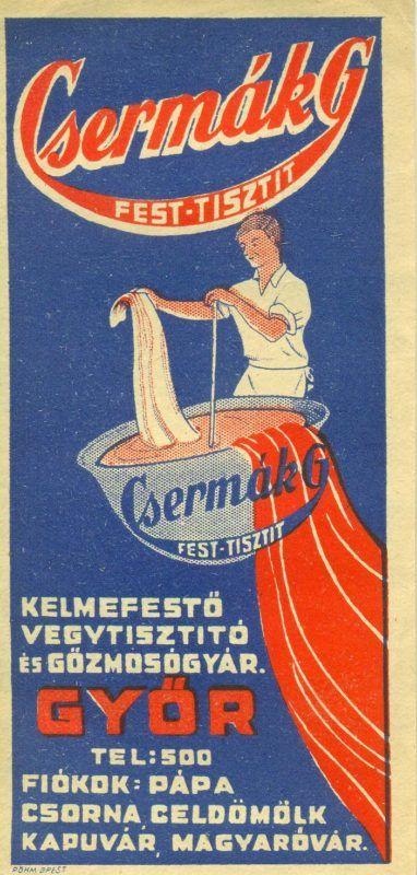 Csermák G győri kelmefestő vegytisztító és gőzmosógyár színes reklám számolócédulája, textilt festő férfialak ábrázolásával.