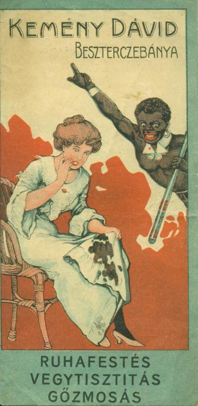 Kemény Dávid besztercebányai vegytisztító, műfestő és gőzmosó-gyárának színes reklám számolócédulája, egy nő és szolgálója ábrázolásával, amint a nő az összepiszkolt ruháját nézi, szolgálója pedig Kemény Dávid nevére mutat.