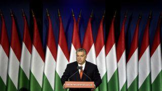 Budapest, 2018. február 18.Orbán Viktor miniszterelnök hagyományos évértékelő beszédét tartja a Várkert Bazárban 2018. február 18-án.MTI Fotó: Máthé Zoltán