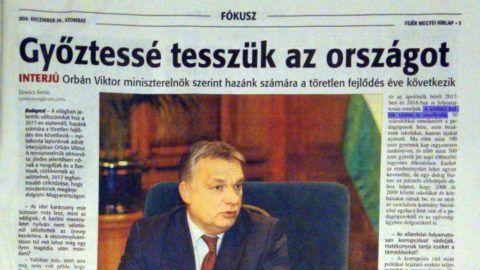 A megváltoztatott Orbán-interjú 2016 decemberében jelent meg