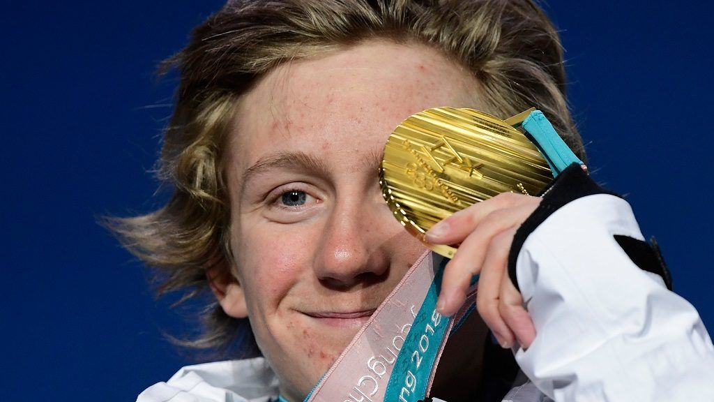 USA's gold medallist Redmond Gerard poses on the podium during the medal ceremony for the snowboard Men's Slopestyle at the Pyeongchang Medals Plaza during the Pyeongchang 2018 Winter Olympic Games in Pyeongchang on February 11, 2018. / AFP PHOTO / JAVIER SORIANO