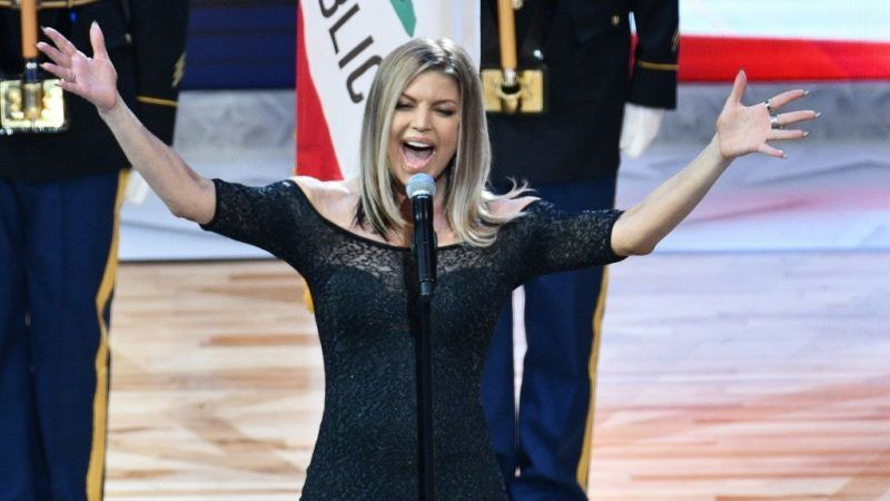 LOS ANGELES, CA - FEBRUARY 18: Singer Fergie sings the national anthem prior to The 67th NBA All-Star Game: Team LeBron Vs. Team Stephen at Staples Center on February 18, 2018 in Los Angeles, California.   Allen Berezovsky/Getty Images/AFP