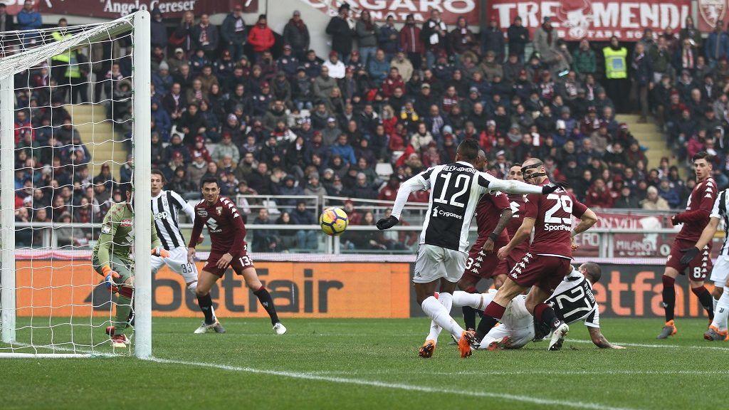 Juventus defender Alex Sandro (12) scores his goal during the Serie A football match n.25 TORINO - JUVENTUS on 18/02/2018 at the Stadio Olimpico Grande Torino in Turin, Italy. (Photo by Matteo Bottanelli/NurPhoto)