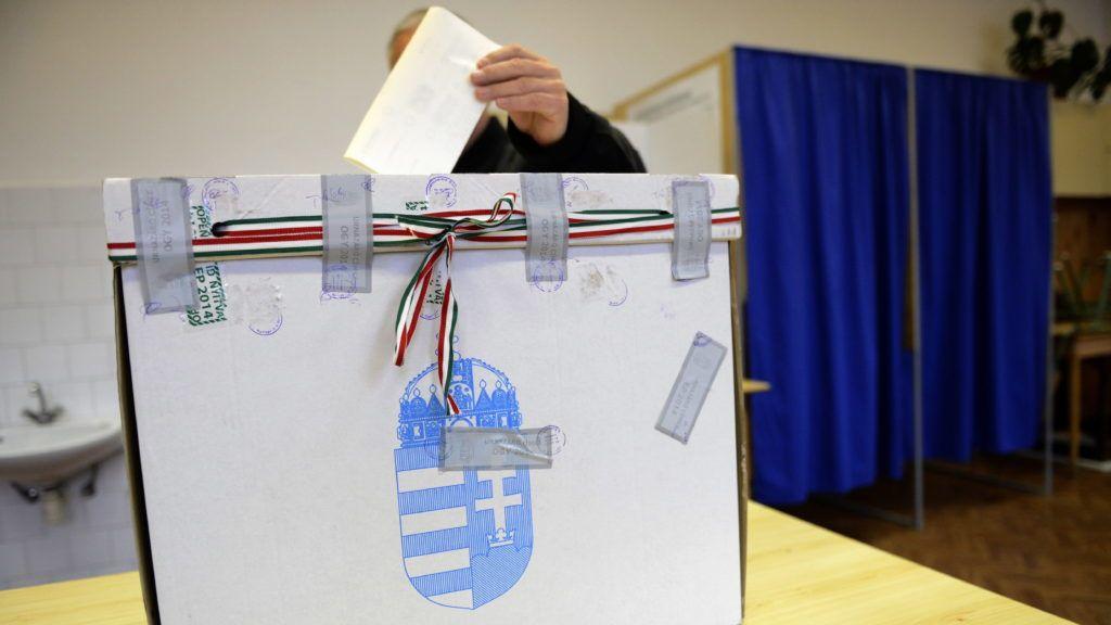 Budapest, 2014. november 23. Egy szavazó Budapest 11. választókerületének 57. szavazókörében, az idõközi országgyûlési választáson, a Szent János Apostol Katolikus Általános Iskolában 2014. november 23-án. MTI Fotó: Kovács Tamás