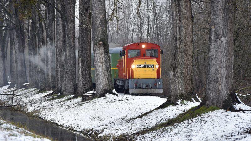 Balatonfenyves, 2018. február 20. Mk48-as mozdony vontatja személyvonatát a MÁV egyetlen közforgalmú keskeny nyomtávú vonalán, a Balatonfenyves-Somogyszentpál vasútvonalon, Balatonfenyves és Imremajor között 2018. február 20-án. MTI Fotó: Máthé Zoltán