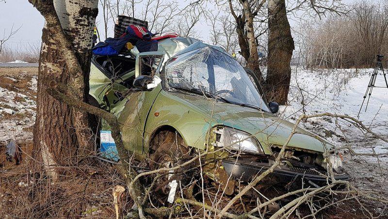 Pirtó, 2018. február 15. Az úttestrõl letért, fának ütközött, összetört személygépkocsi Pirtó közelében az 53-as fõútnál 2018. február 15-én. A balesetben a sofõr életét vesztette. MTI Fotó: Donka Ferenc