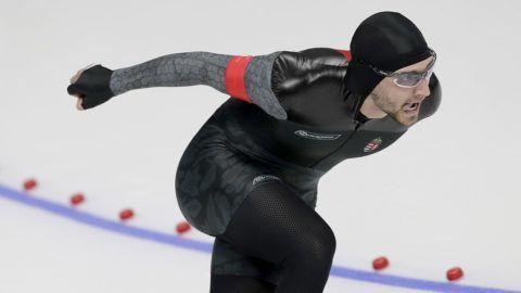 Kangnung, 2018. február 23. Nagy Konrád a gyorskorcsolyázók férfi 1000 méteres versenyén, a phjongcshangi téli olimpián a Kangnung Oválarénában 2018. február 23-án. (MTI/EPA/Valdrin Xhemaj)