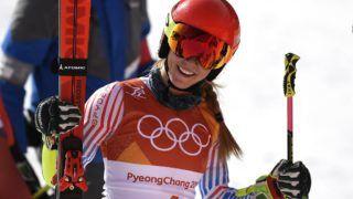 Phjongcshang, 2018. február 15. A késõbbi aranyérmes amerikai Mikaela Shiffrin, miután célba ért a phjongcshangi téli olimpia alpesisí-versenyei nõi óriásmûlesiklásának második futamában az Alpensia Sportparkban 2018. február 15-én. (MTI/EPA/Daniel Kopatsch)