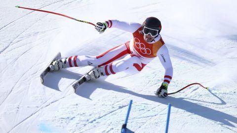 Dzsongszon, 2018. február 16. Az osztrák MatthiasMayer a phjongcshangi téli olimpia alpesisí-versenyei férfi szuperóriás-mûlesiklásában a Dzsongszon Alpesi Központban 2018. február 16-án. (MTI/AP/Alessandro Trovati)