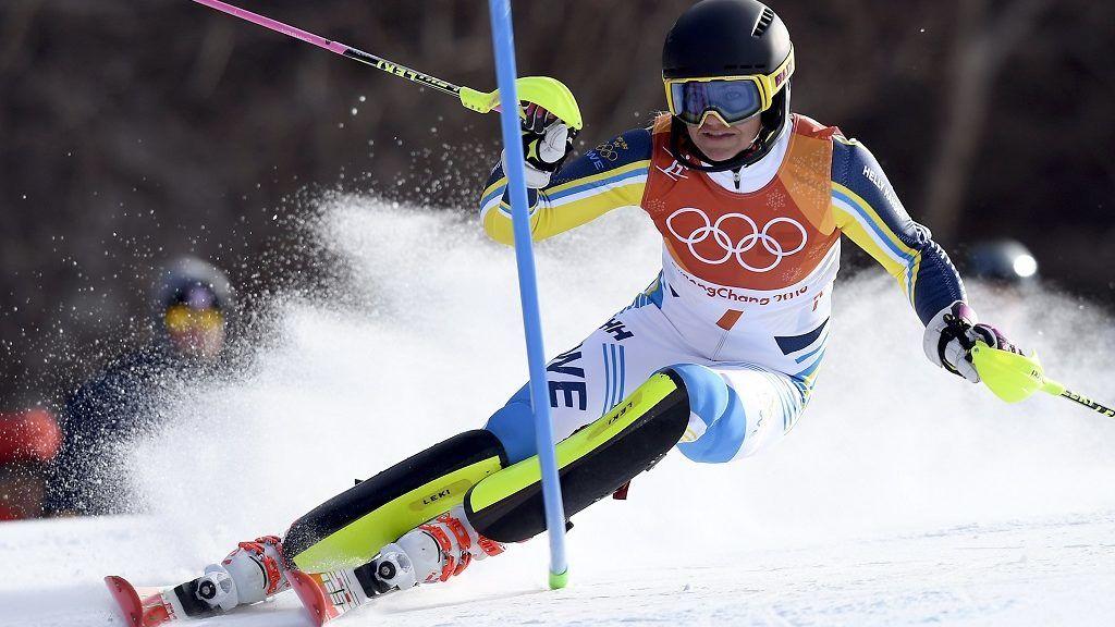 Phjongcshang, 2018. február 16. A késõbbi aranyérmes svéd Frida Hansdotter a phjongcshangi téli olimpia alpesisí-versenyei nõi mûlesiklásában az Alpensia Sportparkban 2018. február 16-án. (MTI/EPA/Daniel Kopatsch)