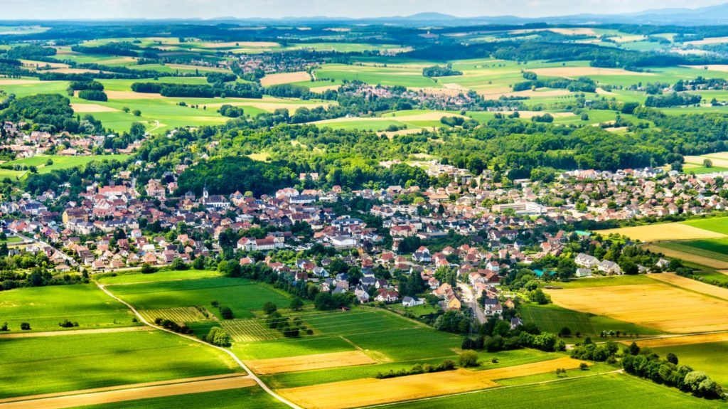 Aerial view of Sierentz village in Haut-Rhin - Alsace, France