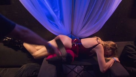LOS ANGELES, CA - MAY 17:  Zoey is whipped for her enjoyment at a dungeon party during the domination convention, DomCon LA, in the early morning hours on May 17, 2015 in Los Angeles, California. The annual convention, which was started in 2003 by fetish professional Mistress Cyan, brings together enthusiasts of BDSM and other fetishes.   (Photo by David McNew/Getty