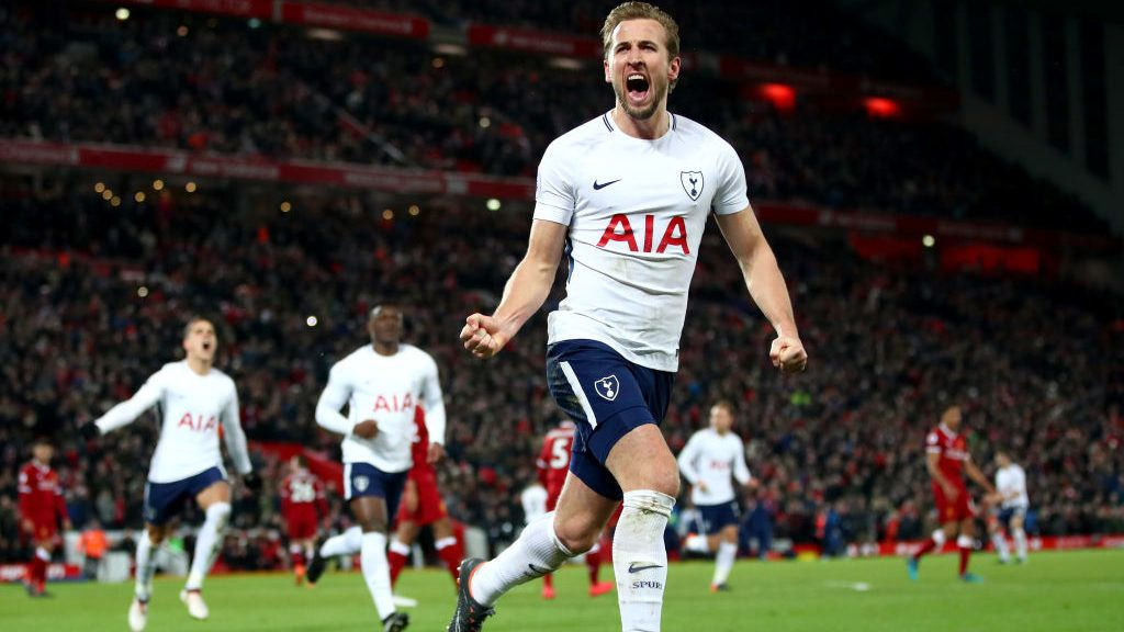 LIVERPOOL, ENGLAND - FEBRUARY 04:  Harry Kane of Tottenham Hotspur celebrates after scoring his sides second goal and his 100th Premier League goal during the Premier League match between Liverpool and Tottenham Hotspur at Anfield on February 4, 2018 in Liverpool, England.  (Photo by Clive Brunskill/Getty Images)