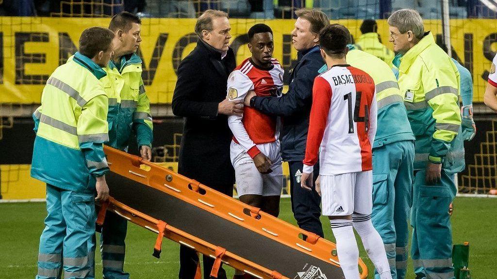 Ridgeciano Haps of Feyenoord injury during the Dutch Eredivisie match between Vitesse Arnhem and Feyenoord Rotterdam at Gelredome on February 11, 2018 in Arnhem, The Netherlands(Photo by VI Images via Getty Images)