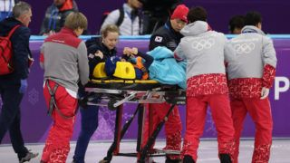 GANGNEUNG, SOUTH KOREA - FEBRUARY 17: Elise Christie of Great Britain is stretchered off the ice after she collides with Yang Zhou of China in the semi final of the Women's1500m during the Short Track Speed Skating on day eight of the PyeongChang 2018 Winter Olympic Games  at Gangneung Ice Arena on February 17, 2018 in Gangneung, South Korea. (Photo by Ian MacNicol/Getty Images)