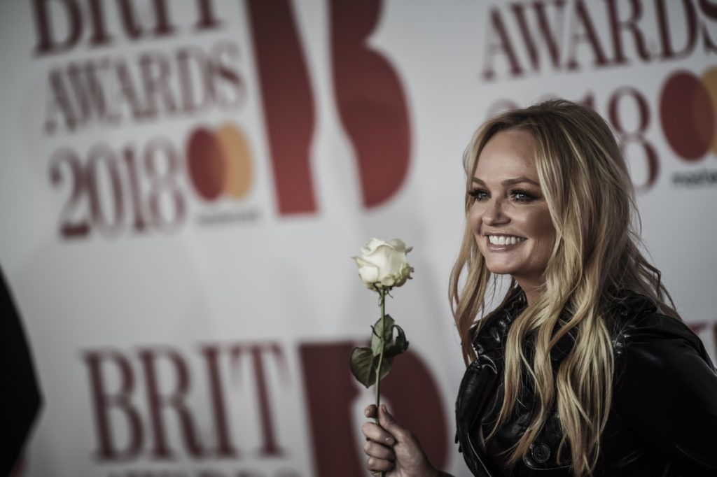 LONDON, ENGLAND - FEBRUARY 21: *** EDITORIAL USE ONLY IN RELATION TO THE BRIT AWARDS 2018 *** (EDITORS NOTE: Image has been desaturated.)  Emma Bunton attends The BRIT Awards 2018 held at The O2 Arena on February 21, 2018 in London, England. (Photo by Antony Jones/Getty Images)