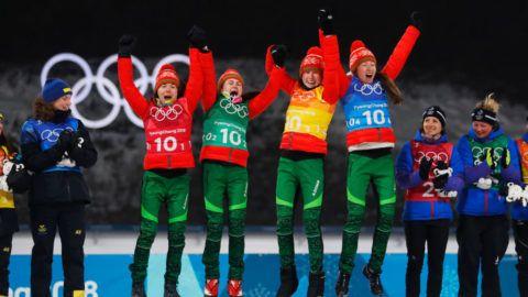 PYEONGCHANG-GUN, SOUTH KOREA - FEBRUARY 22: Nadezhda Skardino of Belarus, Iryna Kryuko of Belarus, Dzinara Alimbekava of Belarus and Darya Domracheva of Belarus celebrates their gold during the Biathlon Womens 4x6km Relay at Alpensia Biathlon Centre on February 22, 2018 in Pyeongchang-gun, South Korea. (Photo by Nils Petter Nilsson/Getty Images)