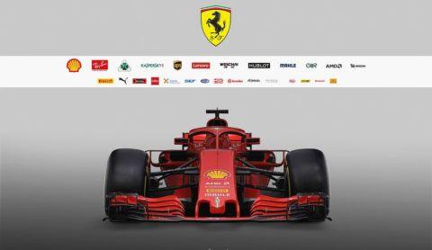 In this handout photo supplied by Scuderia Ferrari F1, the team unveil their new Ferrari SF-71H Formula One car on February 22, 2018 in Maranello, Italy.