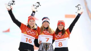 PYEONGCHANG-GUN, SOUTH KOREA - FEBRUARY 24:  (L-R) Silver medalist Selina Jorg of Germany , gold medalist Ester Ledecka of the Czech Republic and bronze medalist Ramona Theresia Hofmeister of Germany pose during the victory ceremony for the Ladies' Snowboard Parallel Giant Slalom on day fifteen of the PyeongChang 2018 Winter Olympic Games at Phoenix Snow Park on February 24, 2018 in Pyeongchang-gun, South Korea.  (Photo by Cameron Spencer/Getty Images)