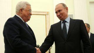 Moszkva, 2018. február 12. Vlagyimir Putyin orosz elnök (j) fogadja Mahmúd Abbászt, a Palesztin Hatóság elnökét a moszkvai Kremlben 2018. február 12-én. (MTI/EPA pool/Makszim Sipenkov)