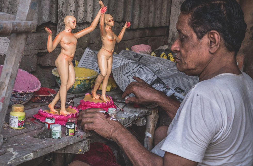 Kolkata - Kumortuli mud Gods sculptures