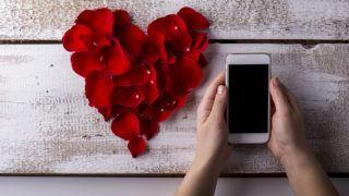 Valentines day composition. Studio shot on white wooden background.