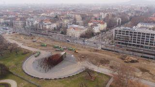 Az Ötvenhatosok tere 2018 februárjában. Fotó: városliget Zrt.