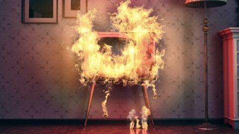retro TV burning in old room. 3d rendering