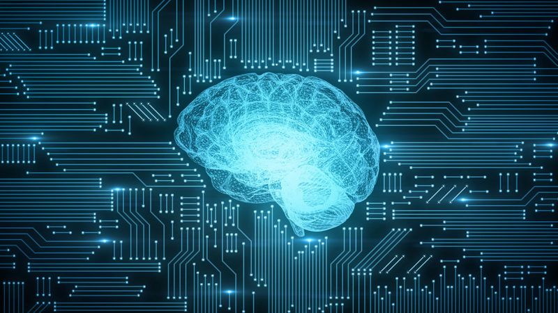 Electricity flowing through computer printed circuitboard style brain graphic