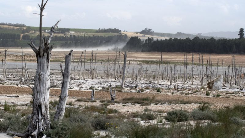 Low water level in Theewaterskloof dam due to severe drought, Western Cape, South Africa