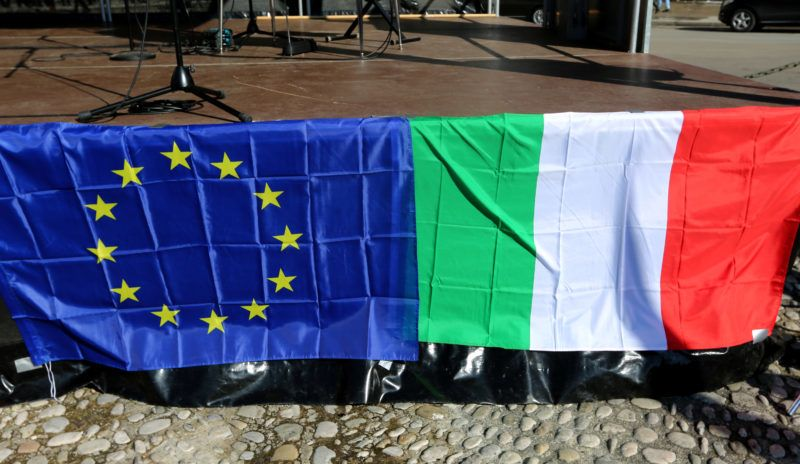 A european flag is placed next to the Italian flag. A few hundred people joined the Pulse of Europe rally in Munich. They protested for the European Union and in support of the pro-EU-parties in the Italian general elections. (Photo by Alexander Pohl/NurPhoto)