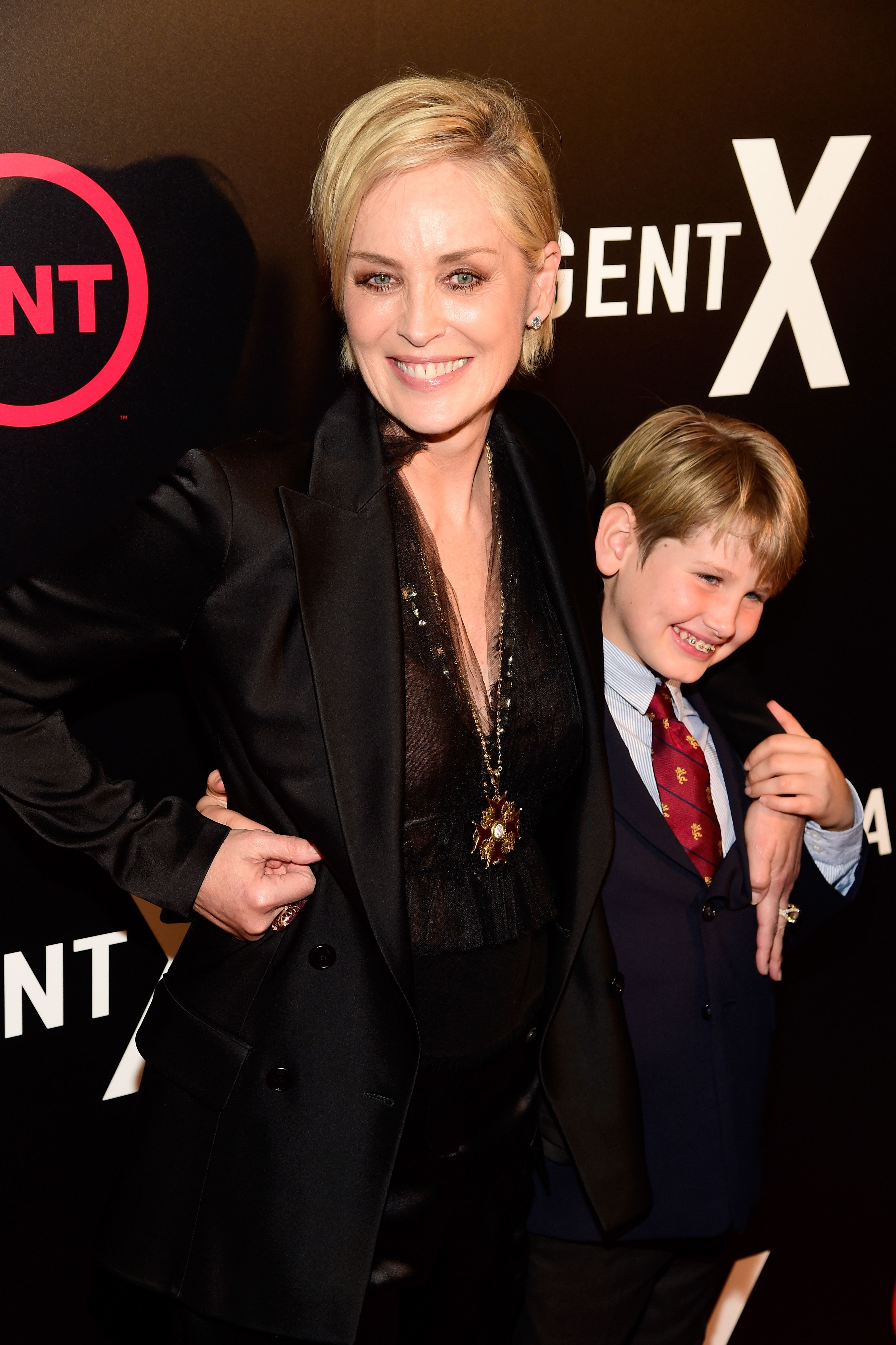 """WEST HOLLYWOOD, CA - OCTOBER 20: Actress Sharon Stone (L) and Laird Vonne Stone attends TNT's """"Agent X"""" screening at The London West Hollywood on October 20, 2015 in West Hollywood, California. 25769_001   Frazer Harrison/Getty Images for TNT/AFP"""