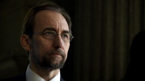 The UN High Commissioner for Human Rights Zeid Ra'ad Al Hussein gestures after a meeting with Guatemalan President Jimmy Morales (out of frame) at the Culture Palace in Guatemala City on November 17, 2017. / AFP PHOTO / JOHAN ORDONEZ