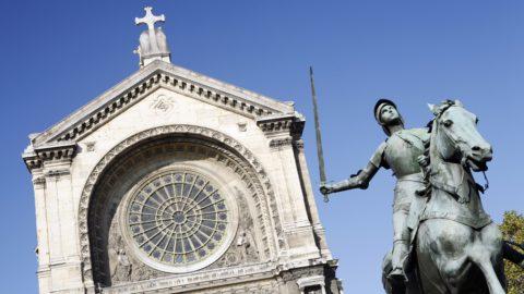 France, Ile-de-France, Paris, Saint Augustin church and Jeanne dArc statue.