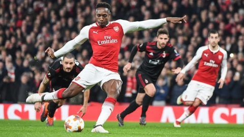 Arsenal Forward Danny Welbeck (23) scores from a penalty (1-0) during the UEFA Europa League, round of 16, 2nd leg football match between Arsenal and AC Milan on March 15, 2018 at the Emirates Stadium in London, England - Photo Stephen Wright / ProSportsImages / DPPI