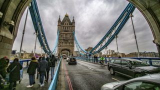 The Tower Bridge in London. One of the main attractions in the city of London is the combined suspension and bascule bridge that was built from 1886 to 1894. The bridge hosted the Olympic circles symbol in London Olympics in 2012. Today after a modernization is open to the public with exhibitions in the upper lever and normal traffic for cars and walking people.  (Photo by Nicolas Economou/NurPhoto)