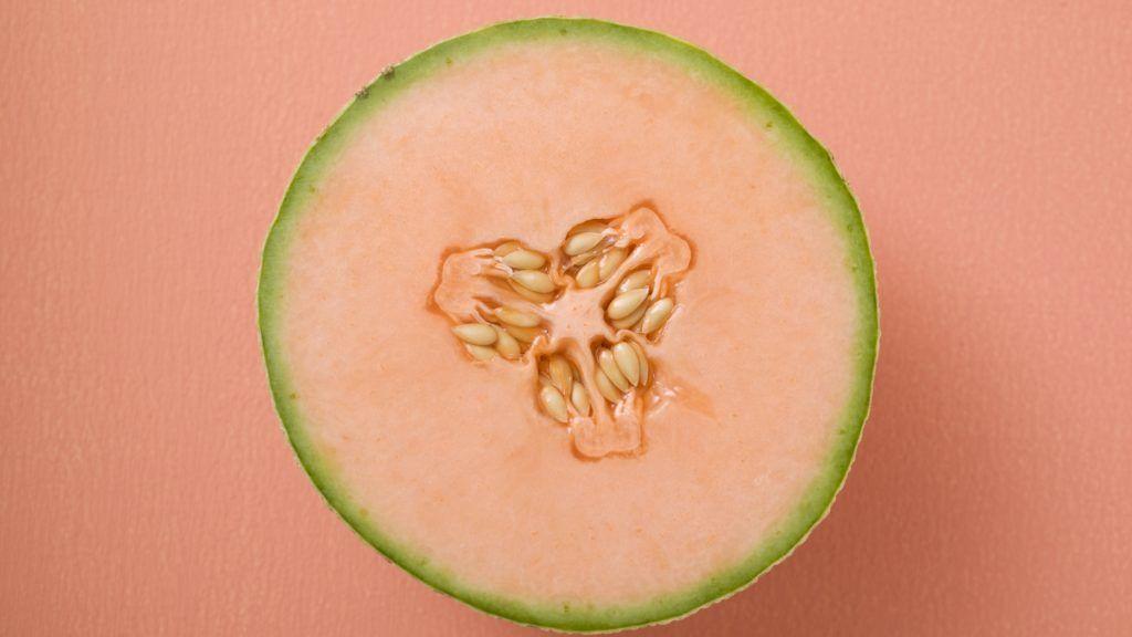 Half a cantaloupe melon (overhead view)