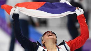 Czech Republic's Karolina Erbanova reacts after winning bronze in the women's 500m speed skating event during the Pyeongchang 2018 Winter Olympic Games at the Gangneung Oval in Gangneung on February 18, 2018.  / AFP PHOTO / Mladen ANTONOV