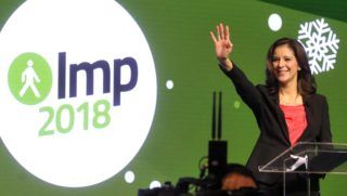 Budapest, 2017. december 16. Szél Bernadett, az LMP miniszterelnök-jelöltje a Lehet Más a Politika (LMP) nagygyûlésén a Budapest Kongresszusi Központban 2017. december 16-án. MTI Fotó: Kovács Attila